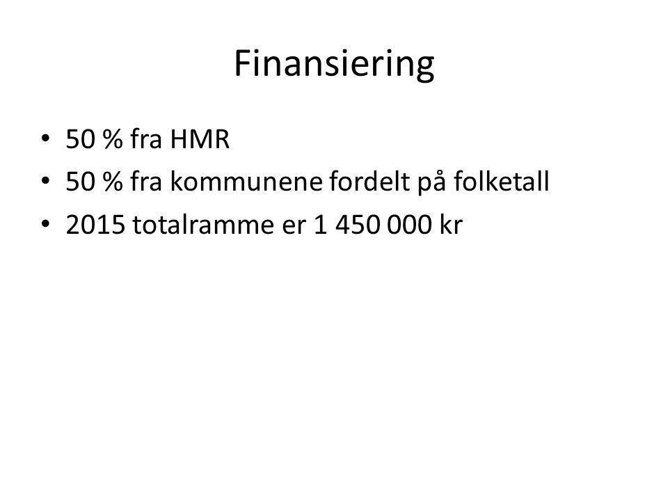 Finansiering 50 % fra HMR 50 % fra kommunene fordelt på folketall 2015 totalramme er 1 450 000 kr