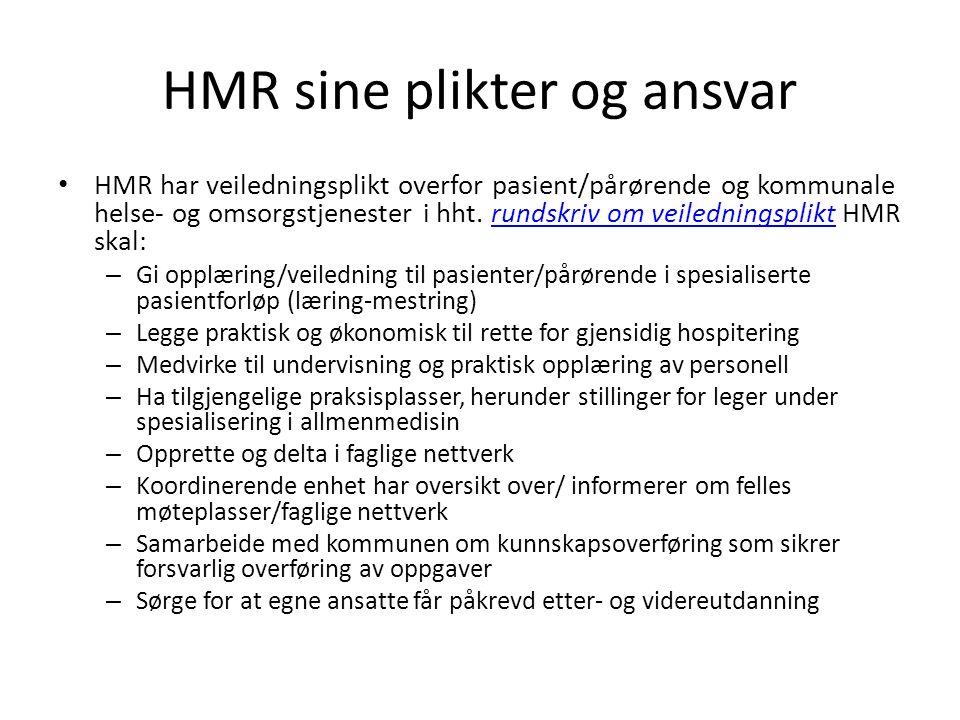 HMR sine plikter og ansvar HMR har veiledningsplikt overfor pasient/pårørende og kommunale helse- og omsorgstjenester i hht.