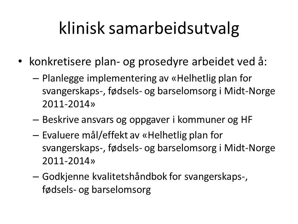klinisk samarbeidsutvalg konkretisere plan- og prosedyre arbeidet ved å: – Planlegge implementering av «Helhetlig plan for svangerskaps-, fødsels- og barselomsorg i Midt-Norge 2011-2014» – Beskrive ansvars og oppgaver i kommuner og HF – Evaluere mål/effekt av «Helhetlig plan for svangerskaps-, fødsels- og barselomsorg i Midt-Norge 2011-2014» – Godkjenne kvalitetshåndbok for svangerskaps-, fødsels- og barselomsorg