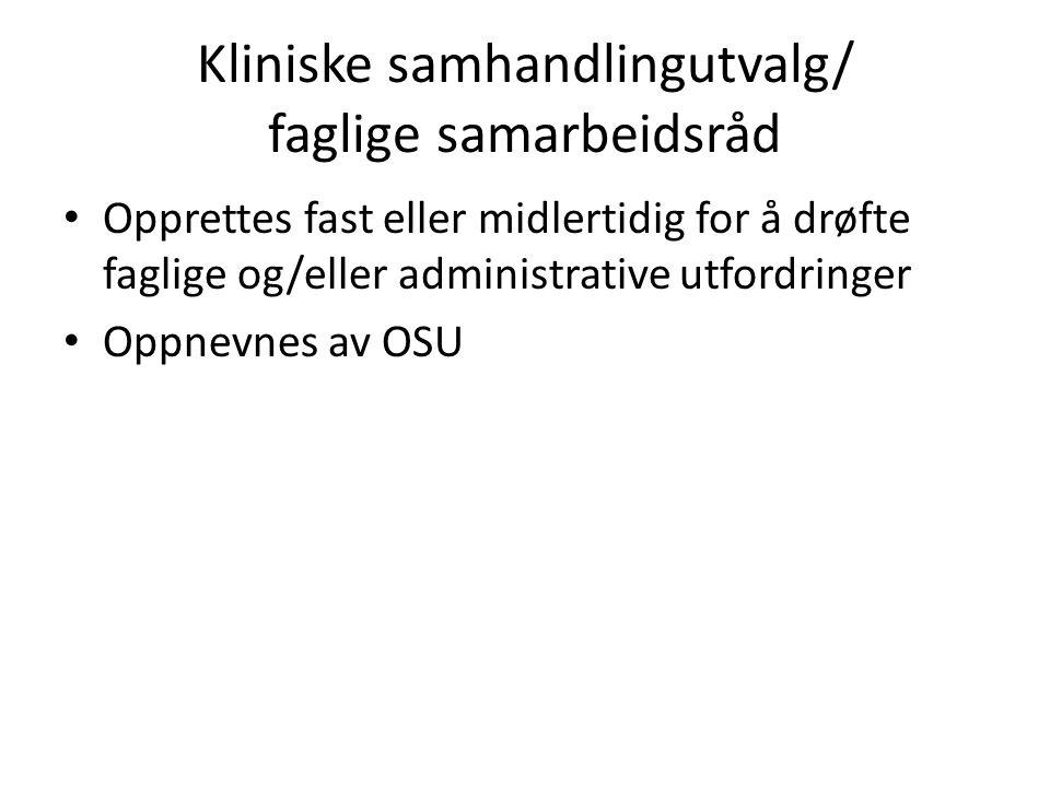 Kliniske samhandlingutvalg/ faglige samarbeidsråd Opprettes fast eller midlertidig for å drøfte faglige og/eller administrative utfordringer Oppnevnes av OSU