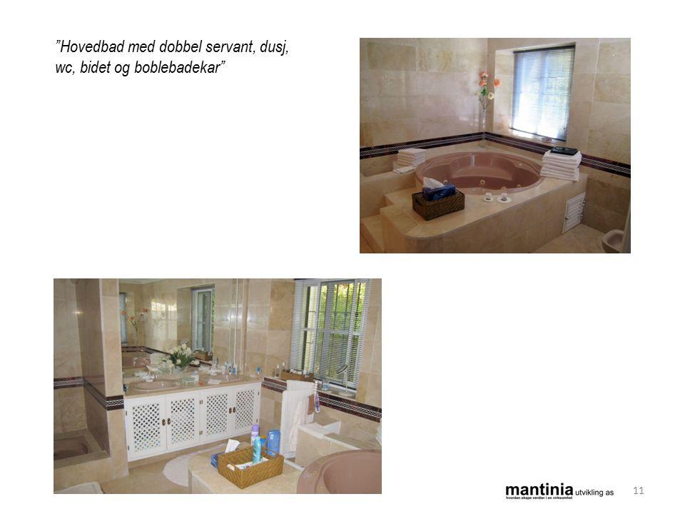Hovedbad med dobbel servant, dusj, wc, bidet og boblebadekar 11