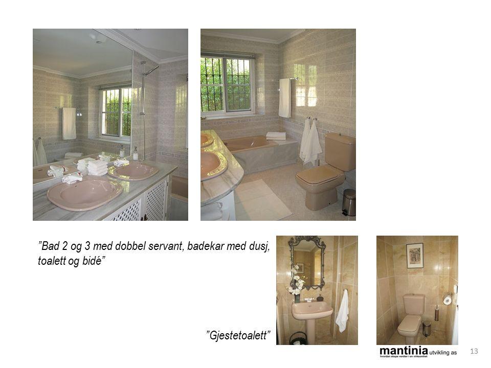 Bad 2 og 3 med dobbel servant, badekar med dusj, toalett og bidé Gjestetoalett 13