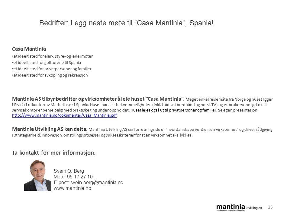 Casa Mantinia et ideelt sted for eier-, styre- og ledermøter et ideelt sted for golfturene til Spania et ideelt sted for privatpersoner og familier et ideelt sted for avkopling og rekreasjon Mantinia AS tilbyr bedrifter og virksomheter å leie huset Casa Mantinia .