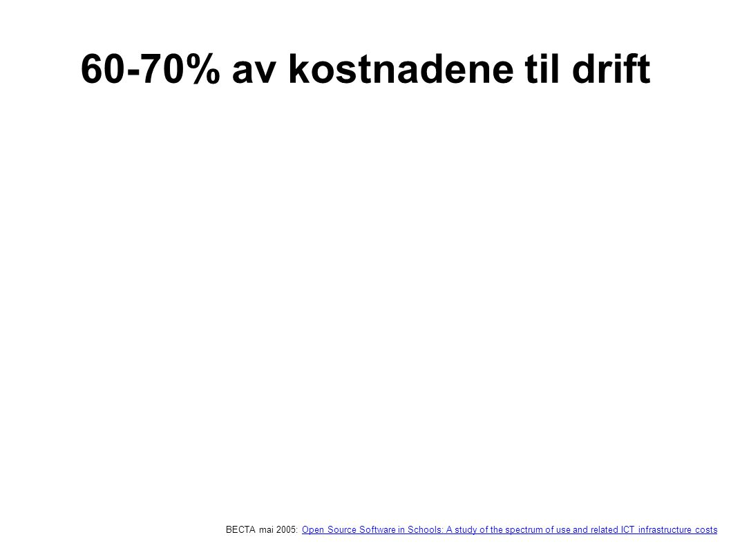 60-70% av kostnadene til drift BECTA mai 2005: Open Source Software in Schools: A study of the spectrum of use and related ICT infrastructure costsOpen Source Software in Schools: A study of the spectrum of use and related ICT infrastructure costs