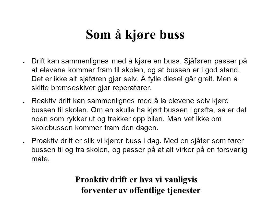Som å kjøre buss ● Drift kan sammenlignes med å kjøre en buss. Sjåføren passer på at elevene kommer fram til skolen, og at bussen er i god stand. Det
