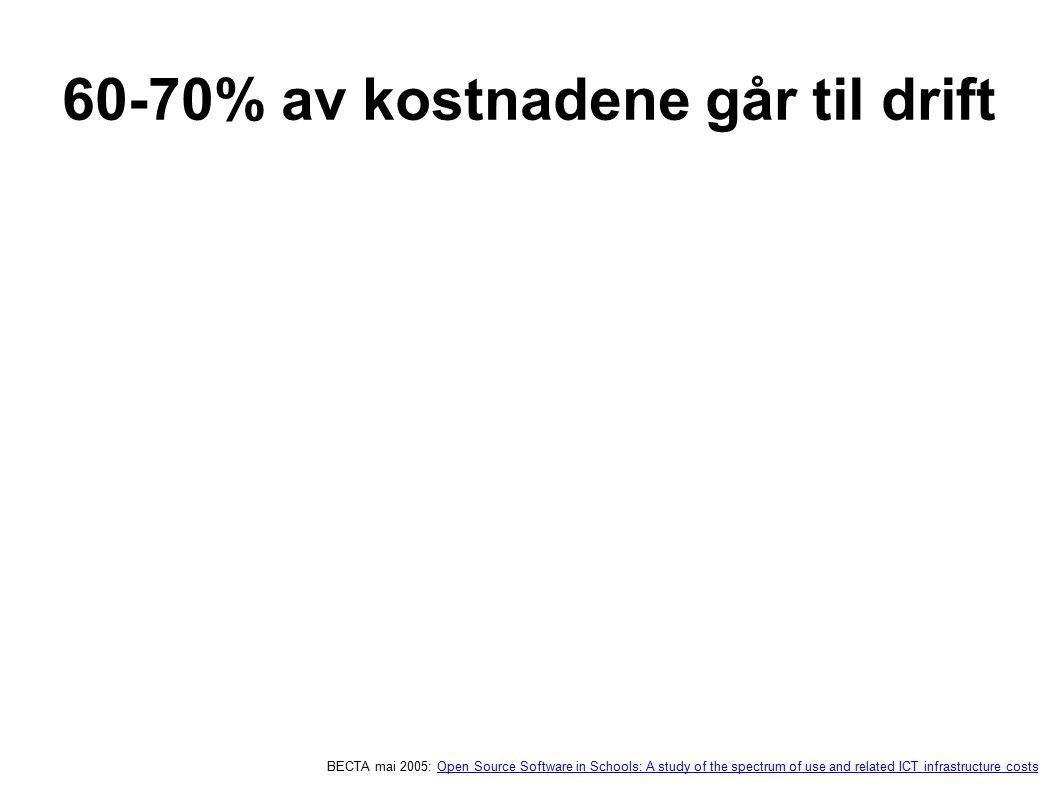 60-70% av kostnadene går til drift BECTA mai 2005: Open Source Software in Schools: A study of the spectrum of use and related ICT infrastructure cost