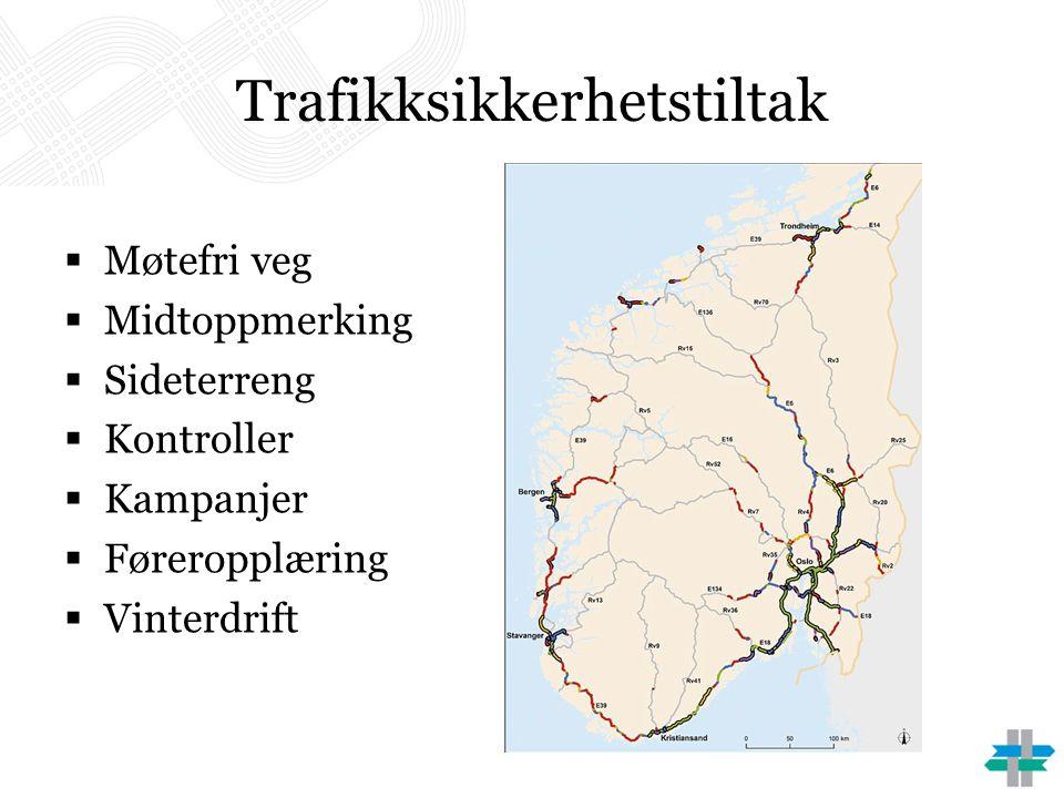 Trafikksikkerhetstiltak  Møtefri veg  Midtoppmerking  Sideterreng  Kontroller  Kampanjer  Føreropplæring  Vinterdrift