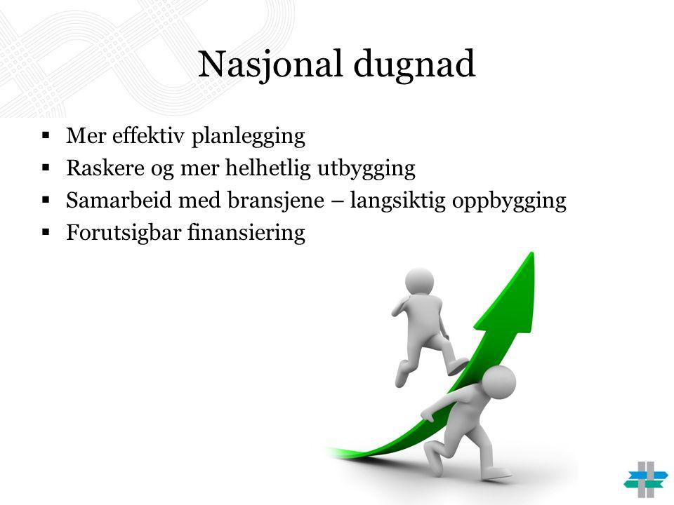 Nasjonal dugnad  Mer effektiv planlegging  Raskere og mer helhetlig utbygging  Samarbeid med bransjene – langsiktig oppbygging  Forutsigbar finansiering