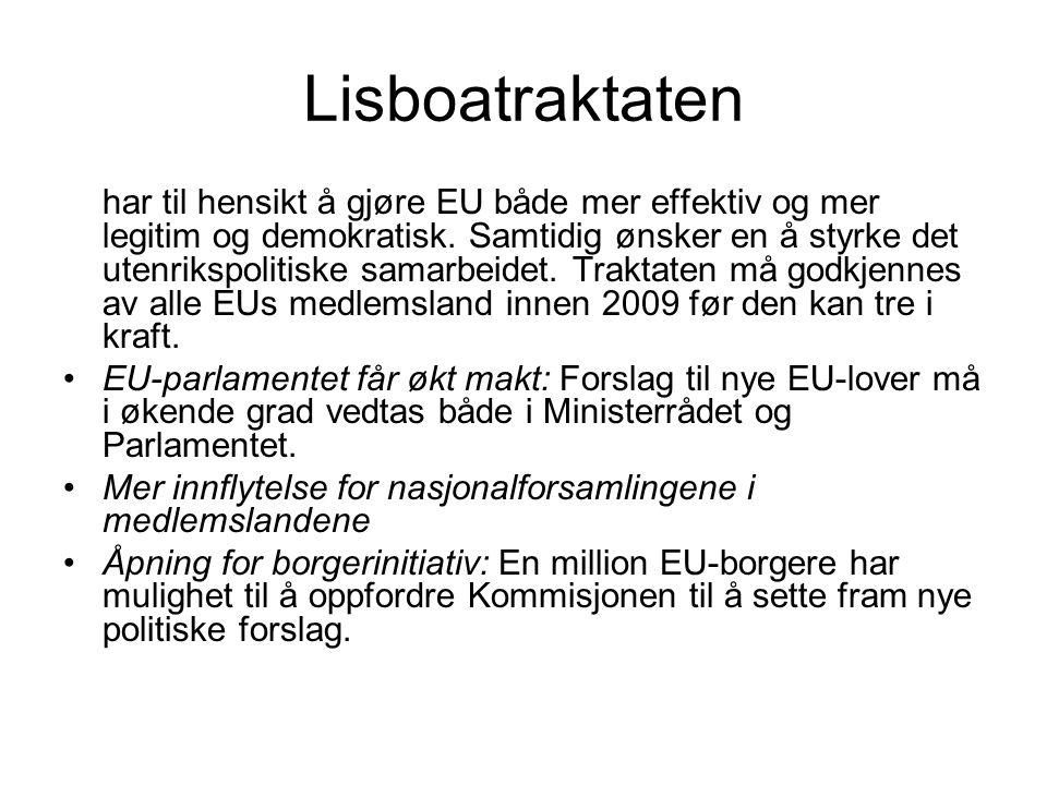 Lisboatraktaten – veien videre Mer effektive beslutningsprosesser: Avstemninger med kvalifisert flertall (overnasjonalitet) i Ministerrådet utvides til nye områder.