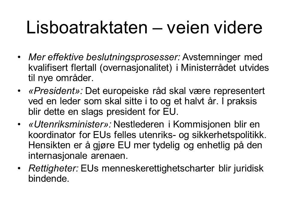 Norge og EU Folkeavstemninger i 1972 og 1994 EØS – avtalen i 1994 Schengensamarbeidet Utenfor EØS-avtalen: –Landbruk –Fiskeripolitikk –Skatte- og avgiftspolitikken –Valuta og sentralbank