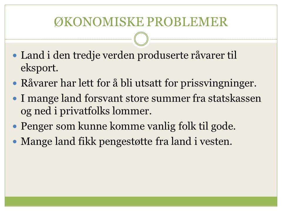 ØKONOMISKE PROBLEMER Land i den tredje verden produserte råvarer til eksport.