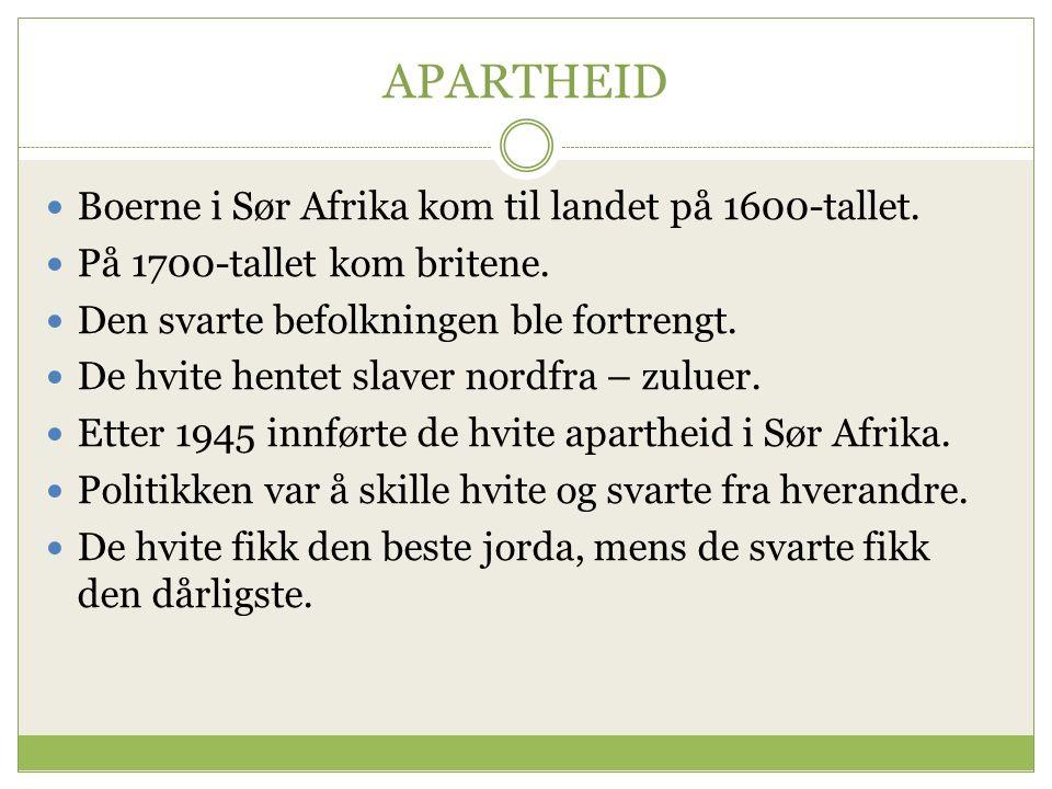 APARTHEID Boerne i Sør Afrika kom til landet på 1600-tallet.