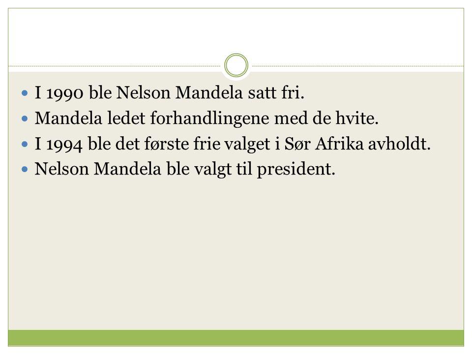 I 1990 ble Nelson Mandela satt fri. Mandela ledet forhandlingene med de hvite.