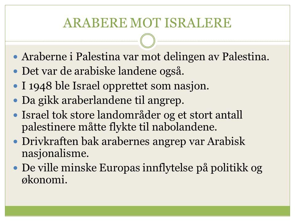 ARABERE MOT ISRALERE Araberne i Palestina var mot delingen av Palestina.