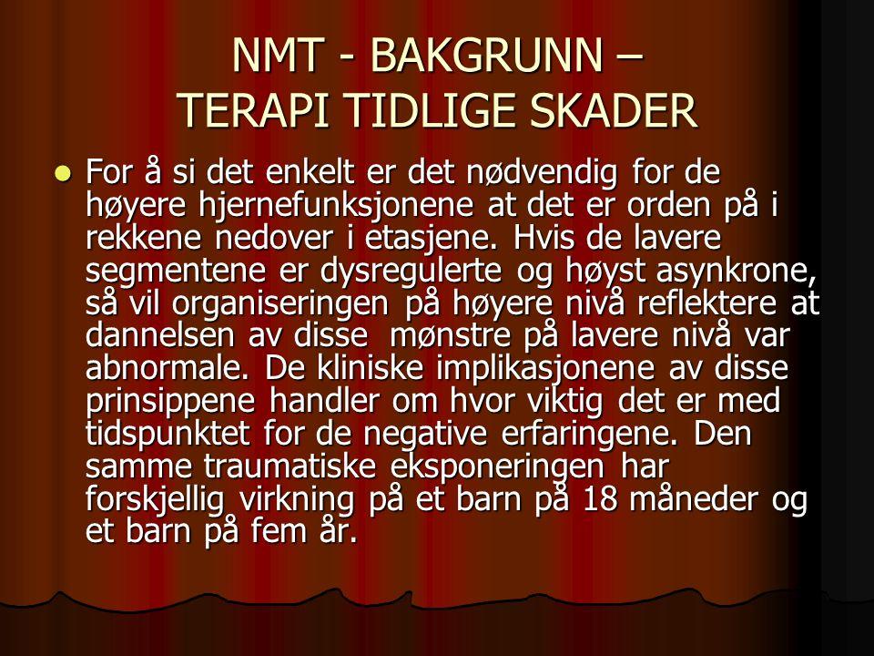 NMT - BAKGRUNN – TERAPI TIDLIGE SKADER For å si det enkelt er det nødvendig for de høyere hjernefunksjonene at det er orden på i rekkene nedover i etasjene.