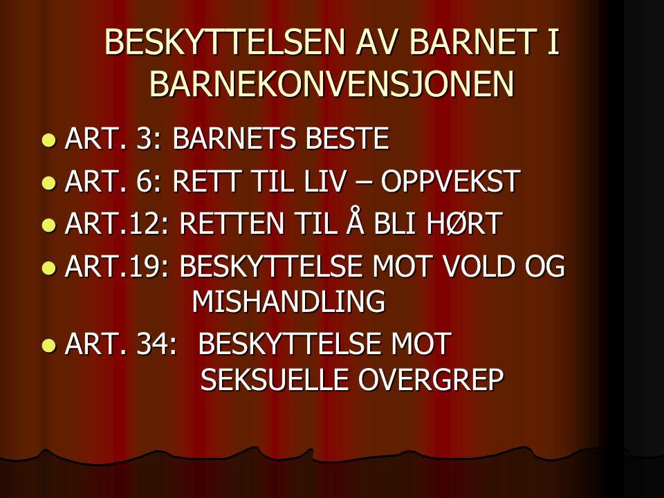 BESKYTTELSEN AV BARNET I BARNEKONVENSJONEN ART. 3: BARNETS BESTE ART.