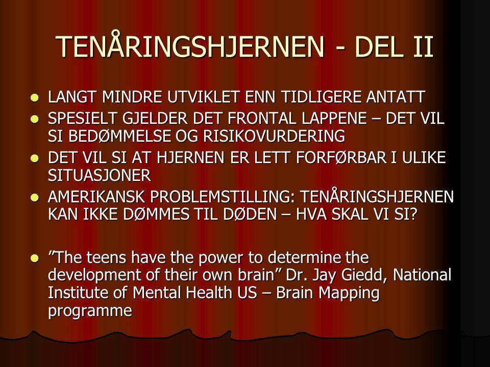 TENÅRINGSHJERNEN - DEL II LANGT MINDRE UTVIKLET ENN TIDLIGERE ANTATT LANGT MINDRE UTVIKLET ENN TIDLIGERE ANTATT SPESIELT GJELDER DET FRONTAL LAPPENE – DET VIL SI BEDØMMELSE OG RISIKOVURDERING SPESIELT GJELDER DET FRONTAL LAPPENE – DET VIL SI BEDØMMELSE OG RISIKOVURDERING DET VIL SI AT HJERNEN ER LETT FORFØRBAR I ULIKE SITUASJONER DET VIL SI AT HJERNEN ER LETT FORFØRBAR I ULIKE SITUASJONER AMERIKANSK PROBLEMSTILLING: TENÅRINGSHJERNEN KAN IKKE DØMMES TIL DØDEN – HVA SKAL VI SI.