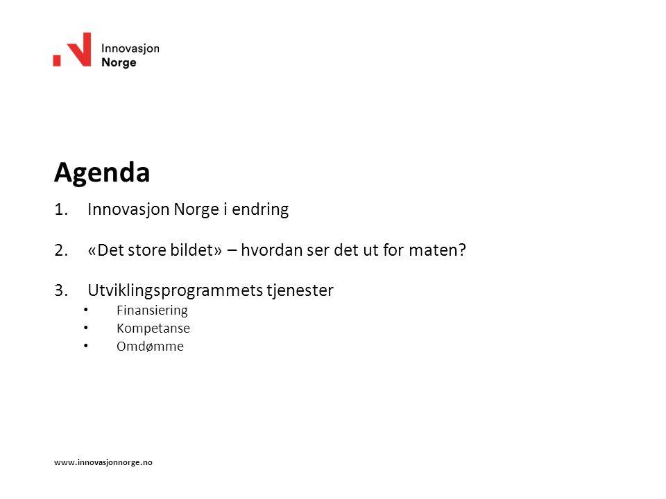 Agenda 1.Innovasjon Norge i endring 2.«Det store bildet» – hvordan ser det ut for maten.