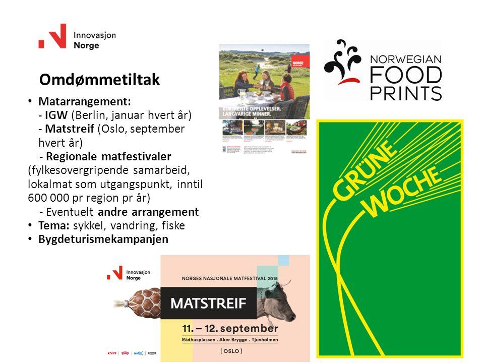 20 Omdømmetiltak Matarrangement: - IGW (Berlin, januar hvert år) - Matstreif (Oslo, september hvert år) - Regionale matfestivaler (fylkesovergripende samarbeid, lokalmat som utgangspunkt, inntil 600 000 pr region pr år) - Eventuelt andre arrangement Tema: sykkel, vandring, fiske Bygdeturismekampanjen