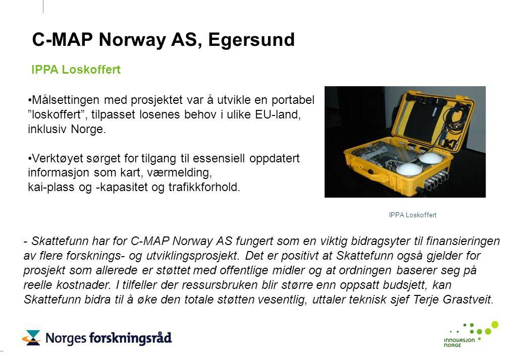 """C-MAP Norway AS, Egersund Målsettingen med prosjektet var å utvikle en portabel """"loskoffert"""", tilpasset losenes behov i ulike EU-land, inklusiv Norge."""