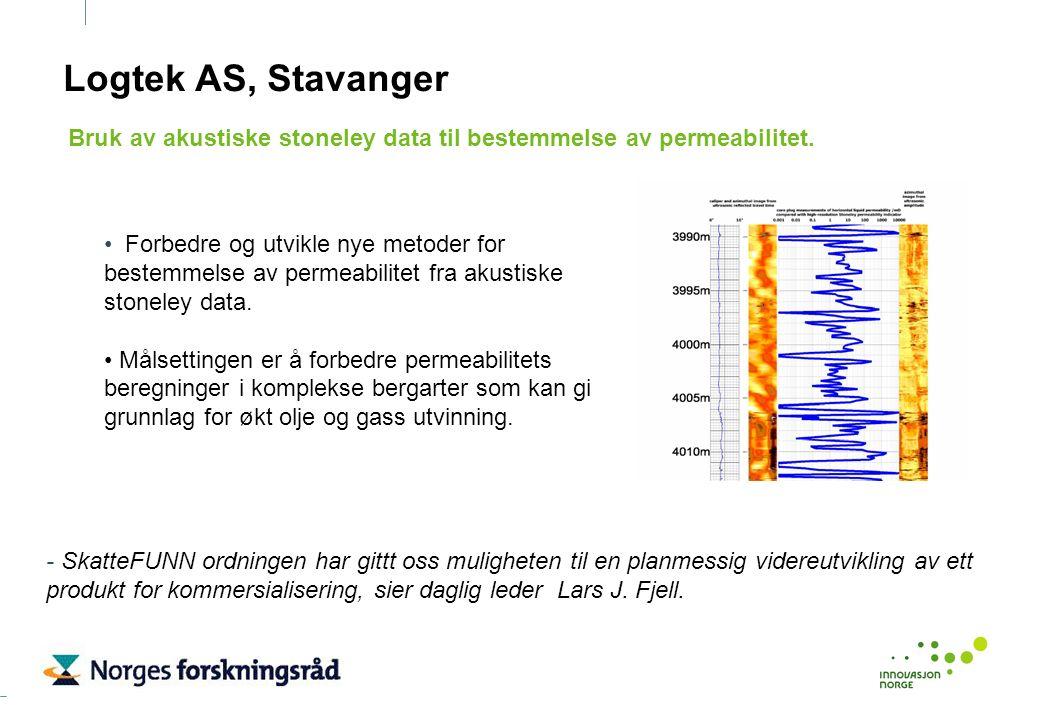 Logtek AS, Stavanger Forbedre og utvikle nye metoder for bestemmelse av permeabilitet fra akustiske stoneley data. Målsettingen er å forbedre permeabi