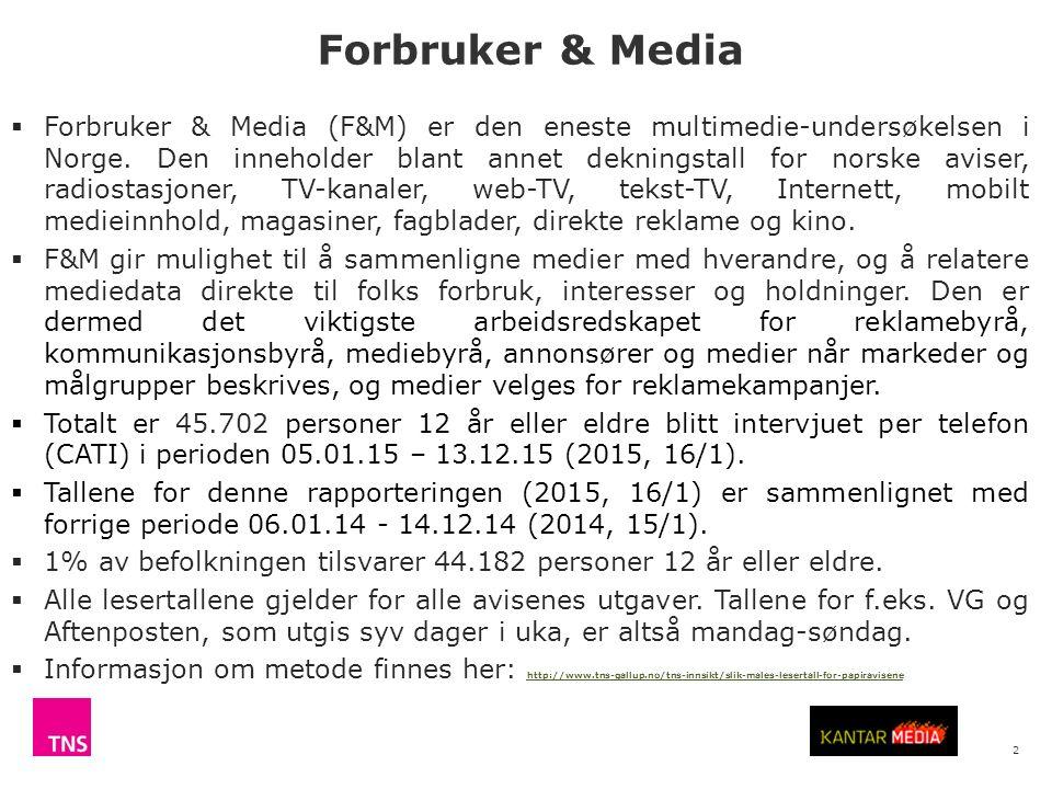 2  Forbruker & Media (F&M) er den eneste multimedie-undersøkelsen i Norge.