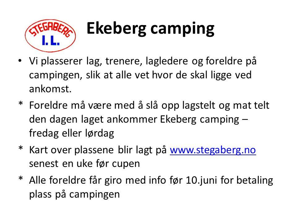 Ekeberg camping Vi plasserer lag, trenere, lagledere og foreldre på campingen, slik at alle vet hvor de skal ligge ved ankomst.