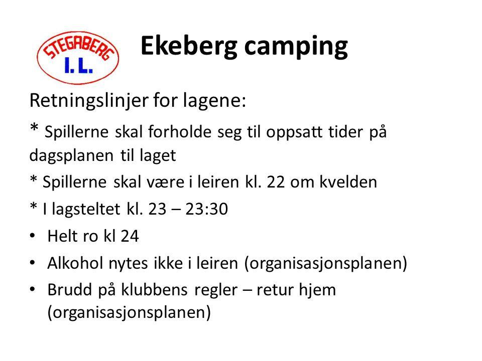 Ekeberg camping Retningslinjer for lagene: * Spillerne skal forholde seg til oppsatt tider på dagsplanen til laget * Spillerne skal være i leiren kl.