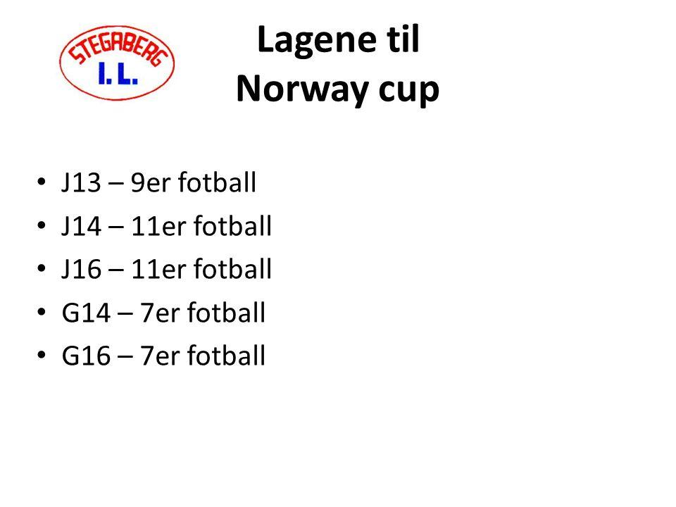 Lagene til Norway cup J13 – 9er fotball J14 – 11er fotball J16 – 11er fotball G14 – 7er fotball G16 – 7er fotball