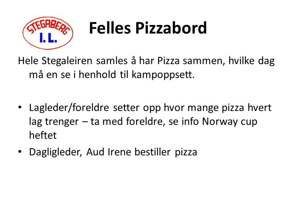 Felles Pizzabord Hele Stegaleiren samles å har Pizza sammen, hvilke dag må en se i henhold til kampoppsett.