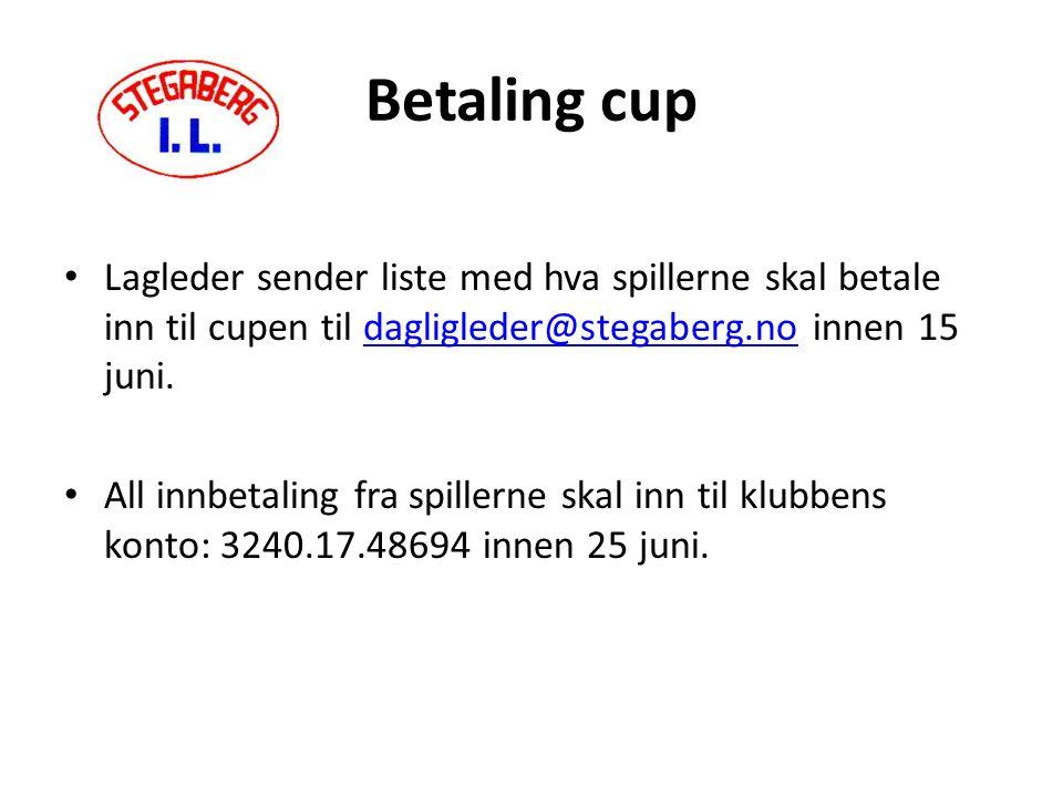 Betaling cup Lagleder sender liste med hva spillerne skal betale inn til cupen til dagligleder@stegaberg.no innen 15 juni.dagligleder@stegaberg.no All innbetaling fra spillerne skal inn til klubbens konto: 3240.17.48694 innen 25 juni.