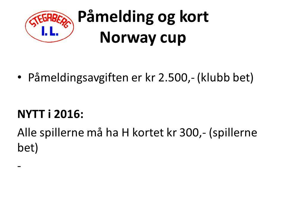 Påmelding og kort Norway cup Påmeldingsavgiften er kr 2.500,- (klubb bet) NYTT i 2016: Alle spillerne må ha H kortet kr 300,- (spillerne bet) -