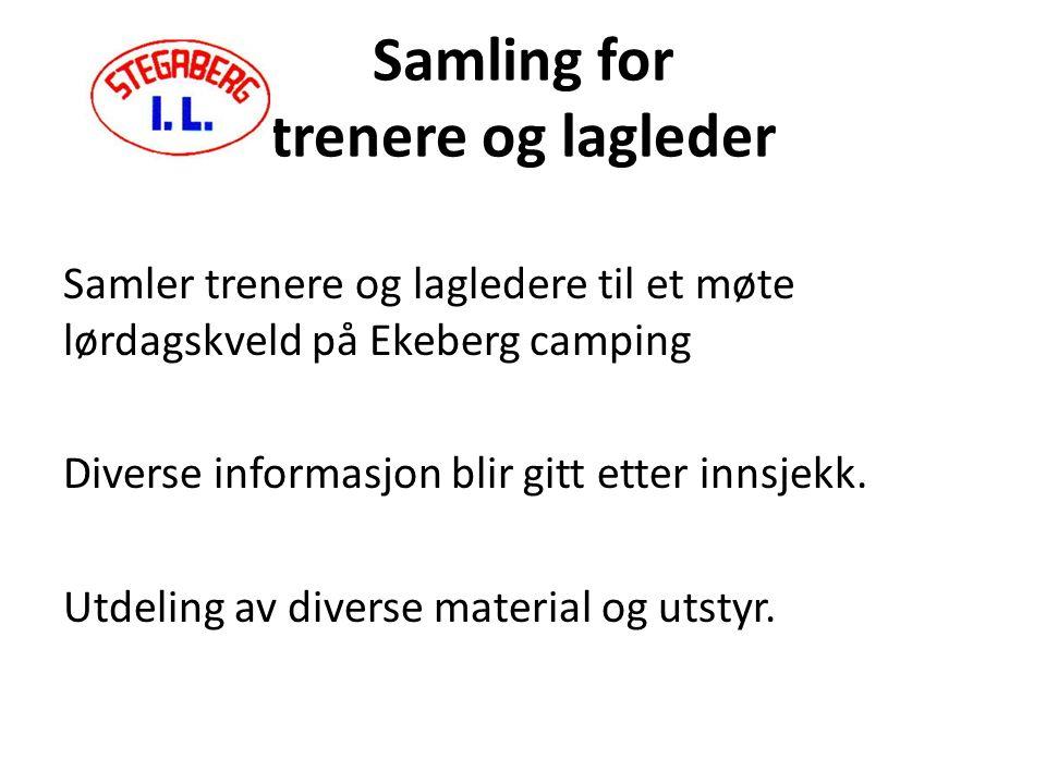 Samling for trenere og lagleder Samler trenere og lagledere til et møte lørdagskveld på Ekeberg camping Diverse informasjon blir gitt etter innsjekk.