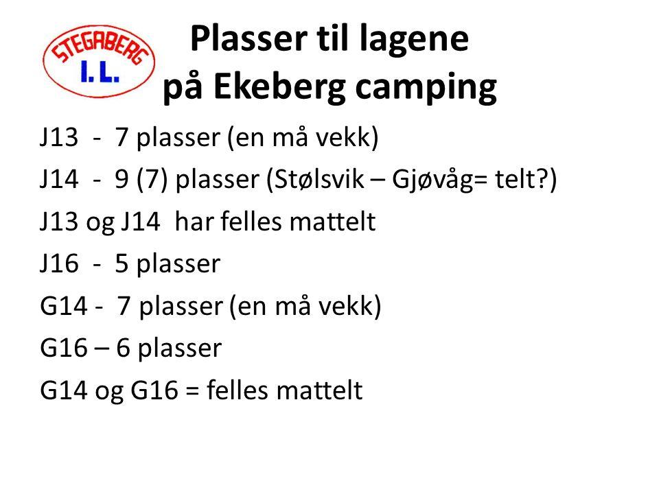 Plasser til lagene på Ekeberg camping J13 - 7 plasser (en må vekk) J14 - 9 (7) plasser (Stølsvik – Gjøvåg= telt ) J13 og J14 har felles mattelt J16 - 5 plasser G14 - 7 plasser (en må vekk) G16 – 6 plasser G14 og G16 = felles mattelt