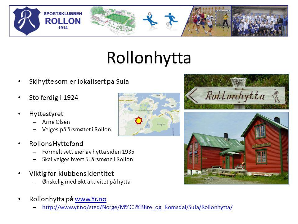 Rollonhytta Skihytte som er lokalisert på Sula Sto ferdig i 1924 Hyttestyret – Arne Olsen – Velges på årsmøtet i Rollon Rollons Hyttefond – Formelt se
