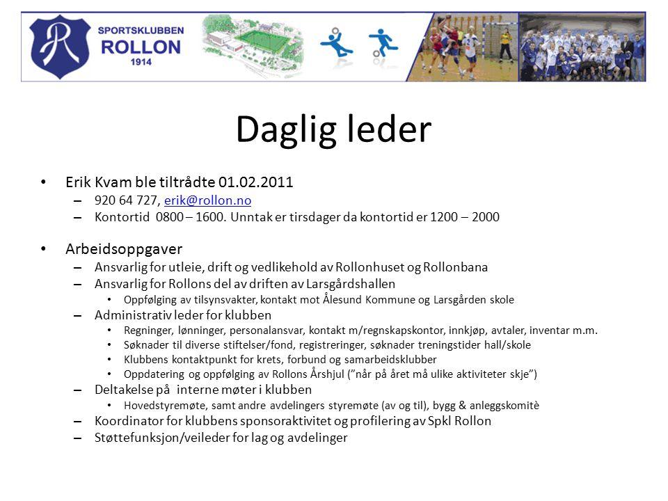 Daglig leder Erik Kvam ble tiltrådte 01.02.2011 – 920 64 727, erik@rollon.noerik@rollon.no – Kontortid 0800 – 1600. Unntak er tirsdager da kontortid e