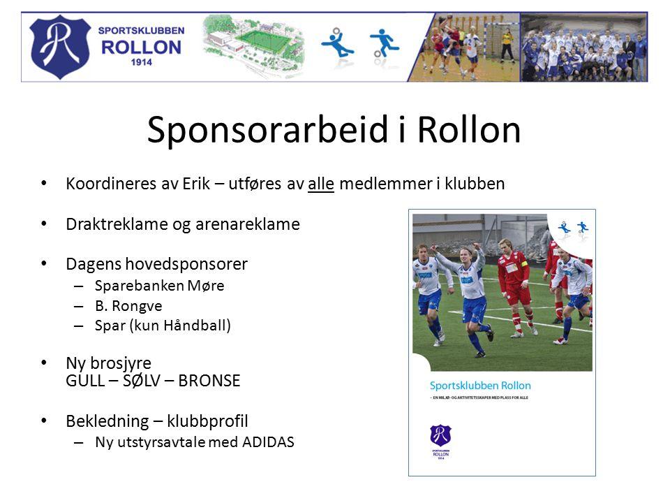 Sponsorarbeid i Rollon Koordineres av Erik – utføres av alle medlemmer i klubben Draktreklame og arenareklame Dagens hovedsponsorer – Sparebanken Møre – B.