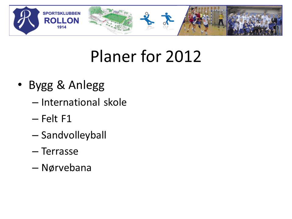 Planer for 2012 Bygg & Anlegg – International skole – Felt F1 – Sandvolleyball – Terrasse – Nørvebana