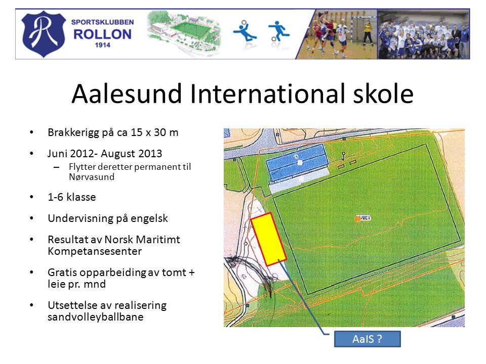 Aalesund International skole Brakkerigg på ca 15 x 30 m Juni 2012- August 2013 – Flytter deretter permanent til Nørvasund 1-6 klasse Undervisning på engelsk Resultat av Norsk Maritimt Kompetansesenter Gratis opparbeiding av tomt + leie pr.