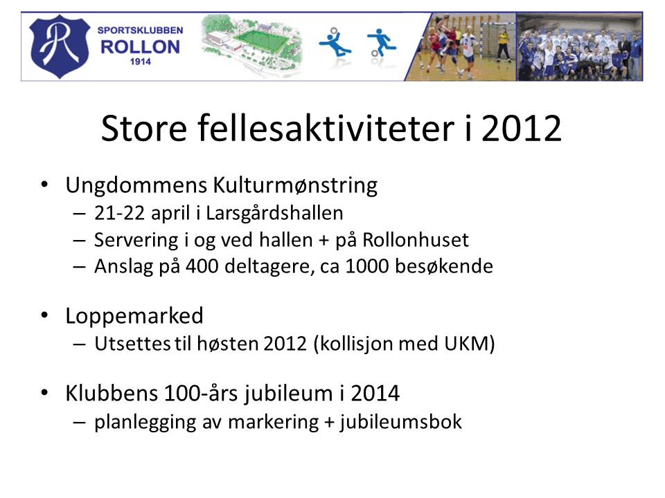 Store fellesaktiviteter i 2012 Ungdommens Kulturmønstring – 21-22 april i Larsgårdshallen – Servering i og ved hallen + på Rollonhuset – Anslag på 400