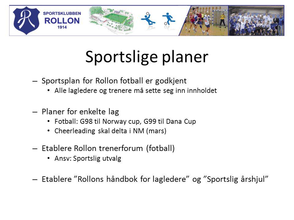 Sportslige planer – Sportsplan for Rollon fotball er godkjent Alle lagledere og trenere må sette seg inn innholdet – Planer for enkelte lag Fotball: G