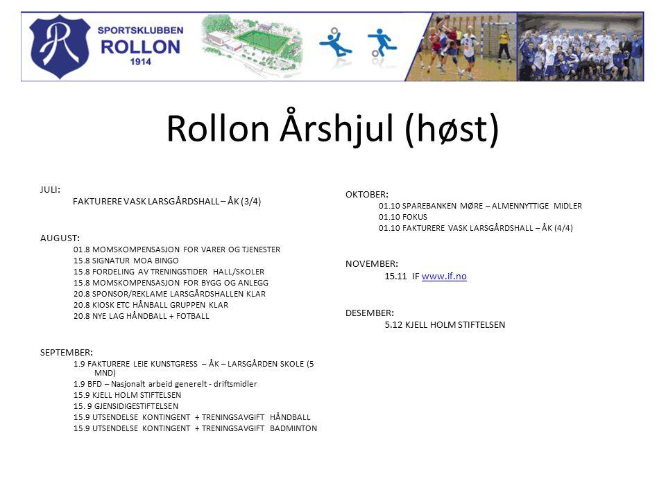 Rollon Årshjul (høst) JULI: FAKTURERE VASK LARSGÅRDSHALL – ÅK (3/4) AUGUST: 01.8 MOMSKOMPENSASJON FOR VARER OG TJENESTER 15.8 SIGNATUR MOA BINGO 15.8 FORDELING AV TRENINGSTIDER HALL/SKOLER 15.8 MOMSKOMPENSASJON FOR BYGG OG ANLEGG 20.8 SPONSOR/REKLAME LARSGÅRDSHALLEN KLAR 20.8 KIOSK ETC HÅNBALL GRUPPEN KLAR 20.8 NYE LAG HÅNDBALL + FOTBALL SEPTEMBER: 1.9 FAKTURERE LEIE KUNSTGRESS – ÅK – LARSGÅRDEN SKOLE (5 MND) 1.9 BFD – Nasjonalt arbeid generelt - driftsmidler 15.9 KJELL HOLM STIFTELSEN 15.