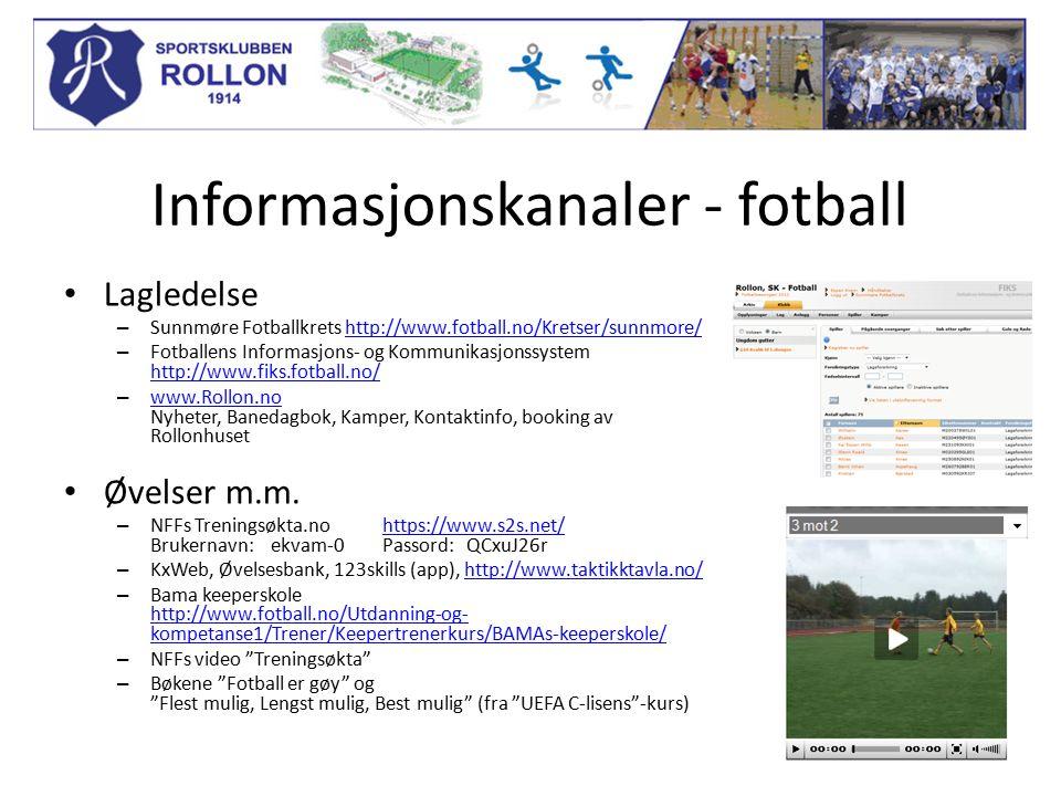 Informasjonskanaler - fotball Lagledelse – Sunnmøre Fotballkrets http://www.fotball.no/Kretser/sunnmore/http://www.fotball.no/Kretser/sunnmore/ – Fotballens Informasjons- og Kommunikasjonssystem http://www.fiks.fotball.no/ http://www.fiks.fotball.no/ – www.Rollon.no Nyheter, Banedagbok, Kamper, Kontaktinfo, booking av Rollonhuset www.Rollon.no Øvelser m.m.