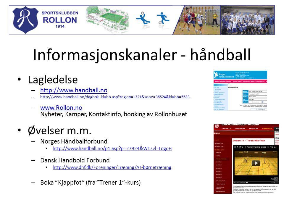 Informasjonskanaler - håndball Lagledelse – http://www.handball.no http://www.handball.no – http://www.handball.no/dagbok_klubb.asp region=1321&sone=36524&klubb=5583 http://www.handball.no/dagbok_klubb.asp region=1321&sone=36524&klubb=5583 – www.Rollon.no Nyheter, Kamper, Kontaktinfo, booking av Rollonhuset www.Rollon.no Øvelser m.m.