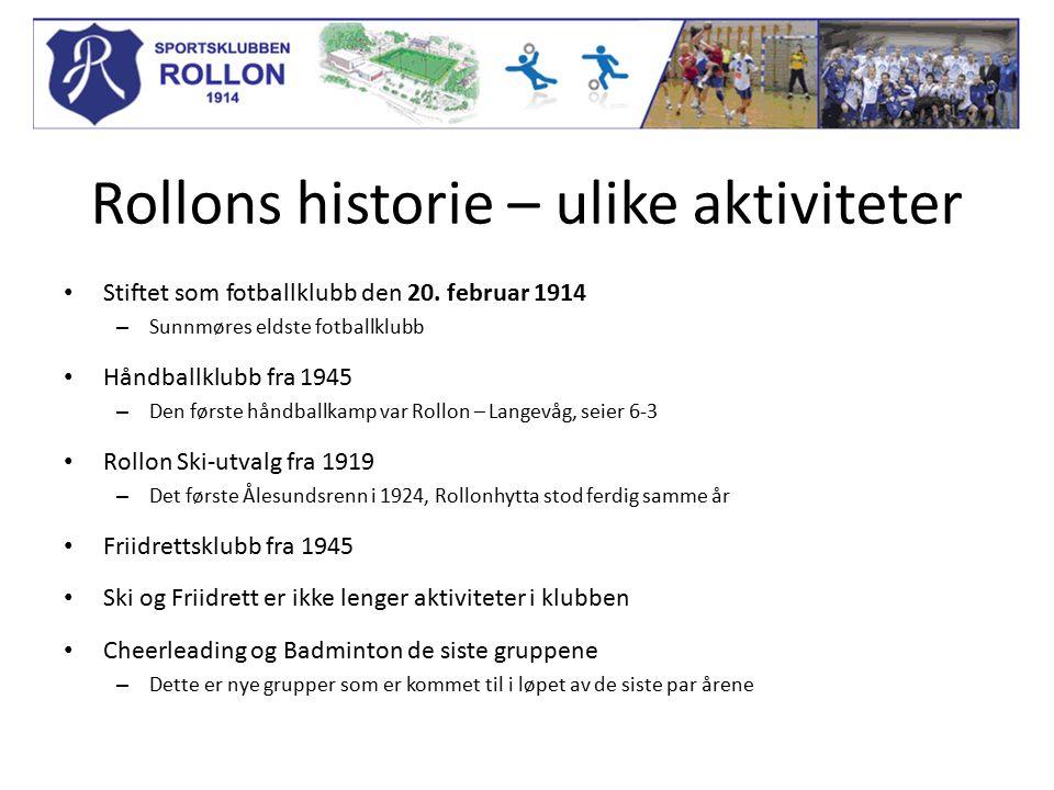Rollons historie – ulike aktiviteter Stiftet som fotballklubb den 20.