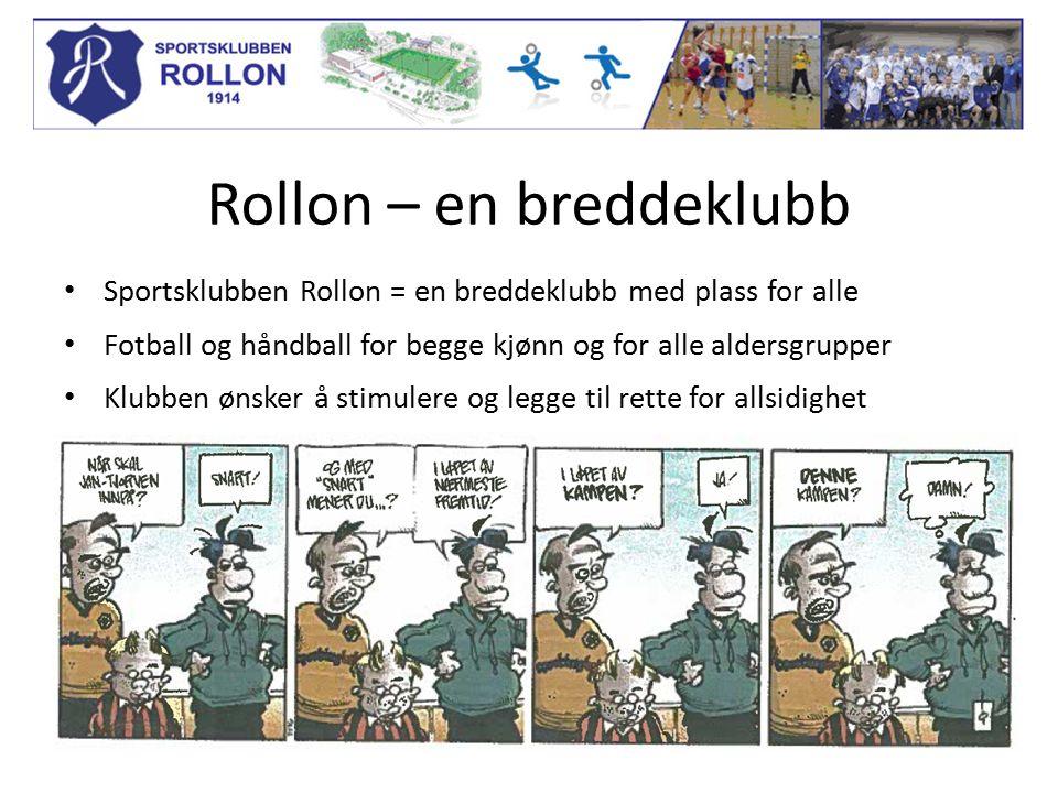 Rollon – en breddeklubb Sportsklubben Rollon = en breddeklubb med plass for alle Fotball og håndball for begge kjønn og for alle aldersgrupper Klubben ønsker å stimulere og legge til rette for allsidighet