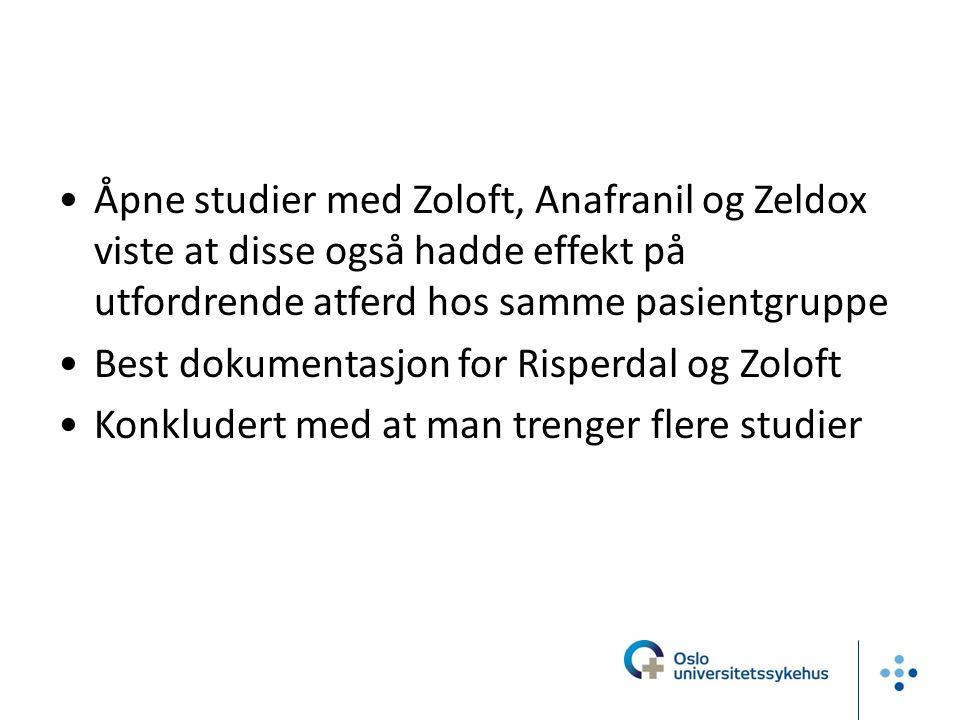 Åpne studier med Zoloft, Anafranil og Zeldox viste at disse også hadde effekt på utfordrende atferd hos samme pasientgruppe Best dokumentasjon for Risperdal og Zoloft Konkludert med at man trenger flere studier