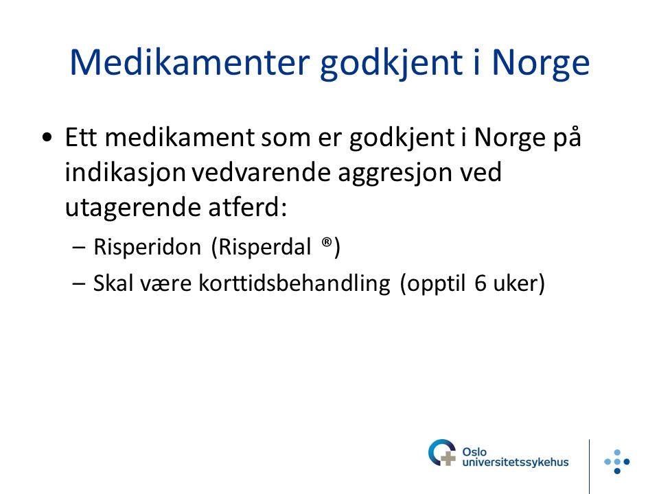 Medikamenter godkjent i Norge Ett medikament som er godkjent i Norge på indikasjon vedvarende aggresjon ved utagerende atferd: –Risperidon (Risperdal ®) –Skal være korttidsbehandling (opptil 6 uker)