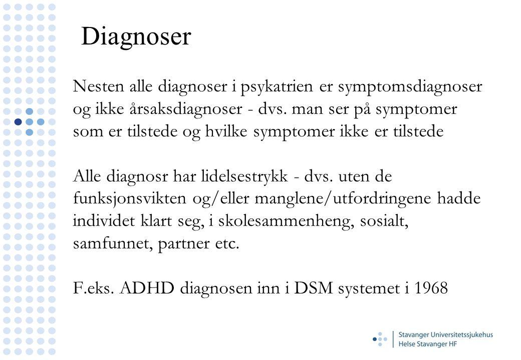 Nesten alle diagnoser i psykatrien er symptomsdiagnoser og ikke årsaksdiagnoser - dvs. man ser på symptomer som er tilstede og hvilke symptomer ikke e