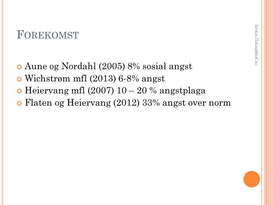 F OREKOMST Aune og Nordahl (2005) 8% sosial angst Wichstrøm mfl (2013) 6-8% angst Heiervang mfl (2007) 10 – 20 % angstplaga Flaten og Heiervang (2012) 33% angst over norm kirsten.flaten@hisf.no